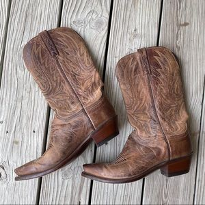 Vintage Lucchese 1883 boots brown distressed 10